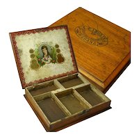 Mahogany Cigar Box, Repurposed, Havana, Ca. 1910