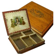 Solid Mahogany Cigar Box, Repurposed, Havana, Ca. 1910
