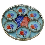 Tray and Coaster Set, Glass Inserts, Japan