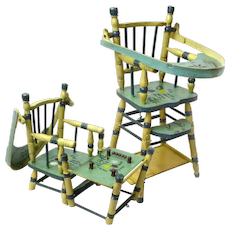 Doll High Chair Convertible to Play Table, Ca. 1935-40, Folk Art Painted