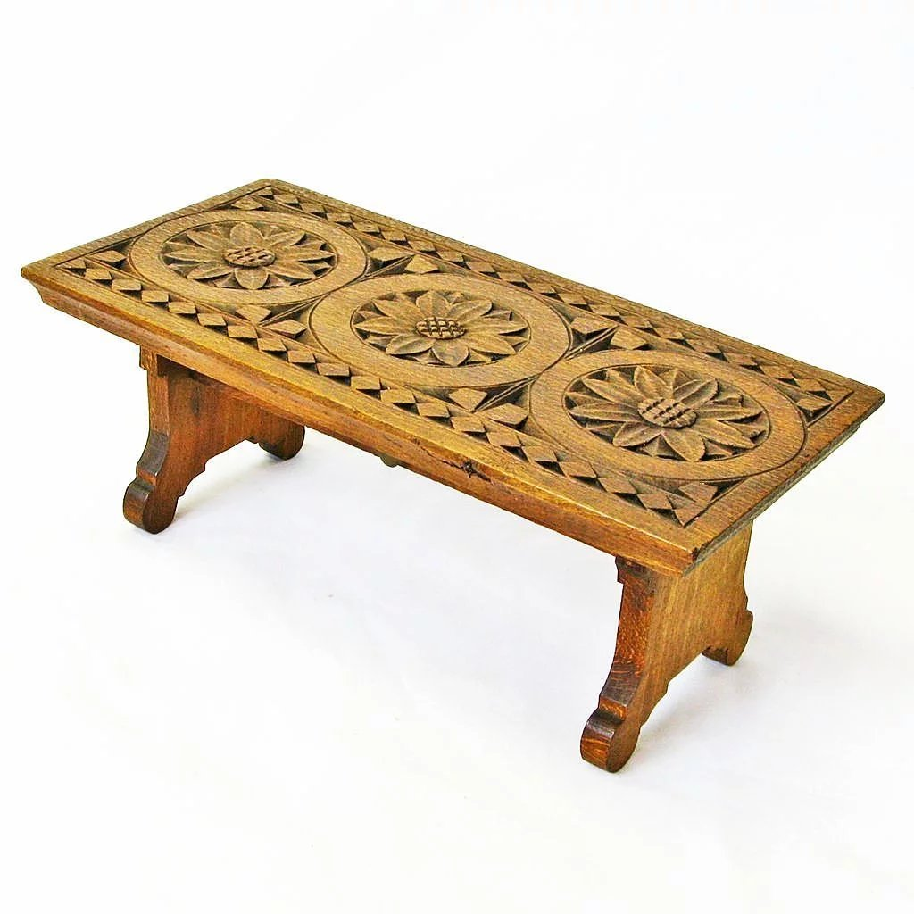 Chip carved english oak collapsible bench ca