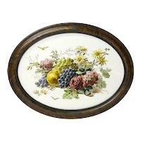 Framed Victorian Ceramic Tile with Floral Transfer Decoration