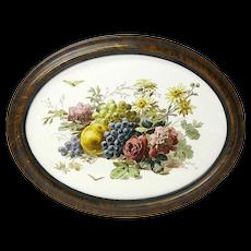 Hanging Victorian Framed Ceramic Tile with Floral Transfer Decoration