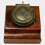 German Steel/Brass Inkwell on Oak Base
