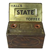 """Hall's """"State"""" Toffee Tin, Stationary Box with 2 Inkwells"""