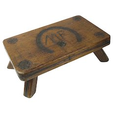 Folk Art Horseshoe Decorated Foot Rest, Stool