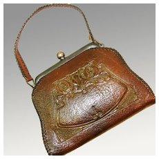 Small Arts & Crafts / Art Nouveau Tooled Leather Jemco Purse, Ca. 1910's