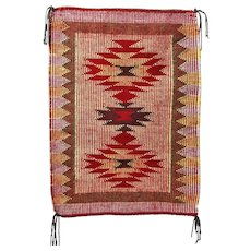 Raised Outline Twill Navajo Weaving, Rug, Hand Woven