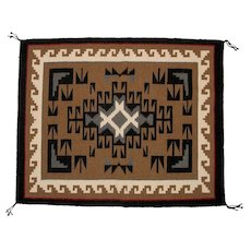 Two Grey Hills Hand Woven Navajo (Dineh) Weaving