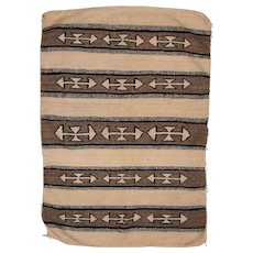 Navajo Double Saddle Blanket Weaving,  Banded Double Arrow Design, Trading Post Tag