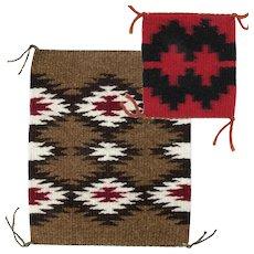 Two Miniature Navajo (Dineh) Rugs Weavings