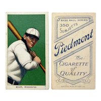 "Clyde ""Deerfoot"" Milan, Washington Senators, T260, Piedmont Baseball Card, Ca. 1907-1922"