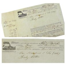 """Bill of Lading for Brig """"Birdian"""", Apalachicola, Shipping Cotton, February 1845"""