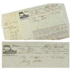 "Cotton Bill of Lading, Brig ""Birdian"", Apalachicola,  February 1845"