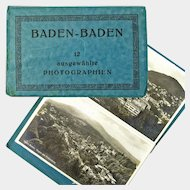 Baden-Baden Photographic Post Cards Book, 12 cards, Ca 1915-25