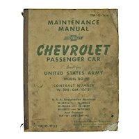 US Army Chevrolet Car Repair Manual, 1941, Shop Used