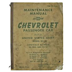 Shop Used US Army Chevrolet Car Repair Manual, 1941