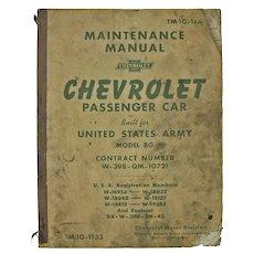 US Army Chevrolet Car Repair Manual, 1941, Shop Used
