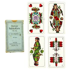 German Playing Cards in Original Box with Rare Reich Tax Stamp, Pre-WW2