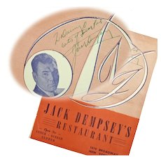 Jack Dempsey Inscribed Autographed Menu