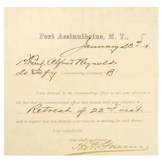 Fort Assinniboine, Montana Territory, Document, West Point Graduate, 1888