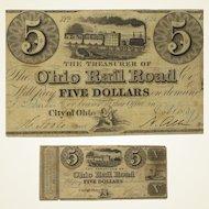 "Ohio Rail Road Co., $5 Note, ""City of Ohio"", Oct. 1839"