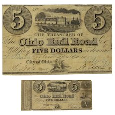 "Ohio Rail Road Co., $5 Note, ""City of Ohio"", Oct. 1839"