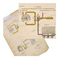 Patent Drawing for Production of Illumination Gas, Suitable for Framing, 1885