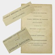 """Booklet """"Yearly Baltimore Friends Meeting Report…Indian Natives"""", Publication, 1805"""