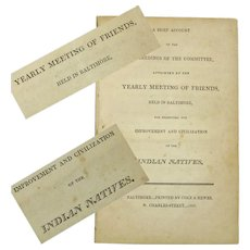 "Booklet ""Yearly Baltimore Friends Meeting Report…Indian Natives"", Publication, 1805"
