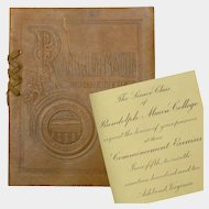 Randolph Macon College Commencement Program, 1910, Leather Bound