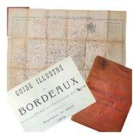 Guide Illustre de Bordeaux, 1918, Visitors Book, Street Guide and Map