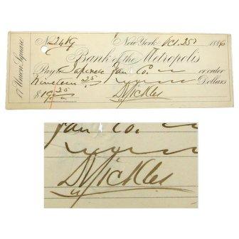 Dan Sickles Autograph Signed Check, 1886, Medal of Honor Recipient, Gettysburg