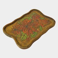 Pyrographic Painted Poinsettia Tray