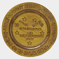 Pyrographic Decorated Commemorative War Memorial Plate, World War II