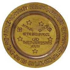 Pyrographic Decorated Commemorative War Memorial Plate, World War II
