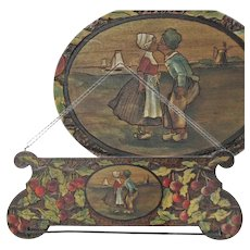 Pyrography Paint Decorated Cherries with Dutch Children Towel Rack, Ca.1920