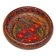 Pyrographic Painted Cherry Decorated Wooden Bowl, Ca. 1910