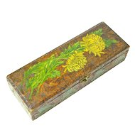 Pyrography and Paint Decorated Chrysanthemum Glove / Handkerchief Box
