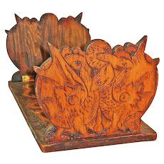 Dragon/Snake Pyrography Decorated Collapsible Book Rack, Ca. 1910