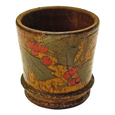 Pyrographic Paint Decorated Desk Cup, Holly and Berry Design