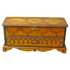 Homemade Pyrographic Decorated Lined Jewelry Box, Desk Box