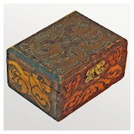 Pyrographic  Decorated Latched Dresser Box, Ca. 1910