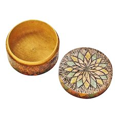 Pyrographic and Paint Decorated Small Round Candy Container