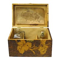 Flemish Art Pyrographic Box Signed with Tools and Instructions
