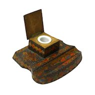 Pyrographic Paint Decorated Inkwell and Pen Rest, Ca 1920