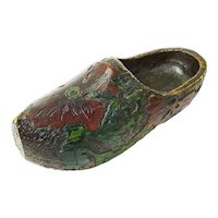 Carved, Painted, Pyrographic Decorated Wooden Shoe, Signed, Dated 1911, Buffalo, NY