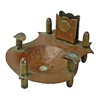 Trench Art Ashtray and Matchbox Holder, Post-WWI, with Coins
