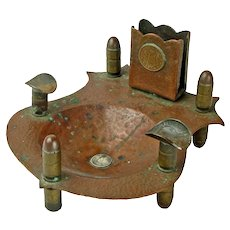 Trench Art Ashtray with Matchbox Holder