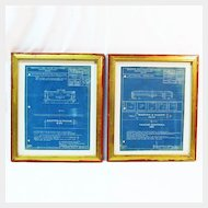 Boston & Maine Railroad Blueprints, Framed, Two Pieces, 1940's